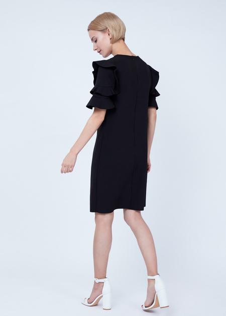 Платье-мини с оборками на рукавах - фото 6