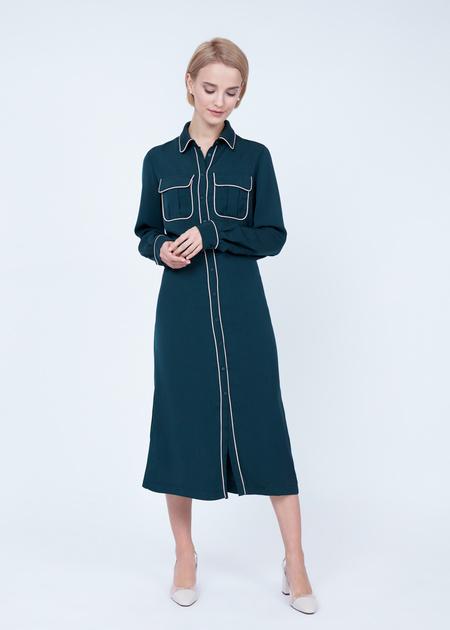 Платье-миди с накладными карманами - фото 1
