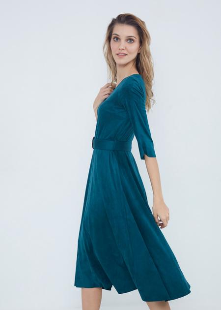 Замшевое платье-миди с поясом - фото 5