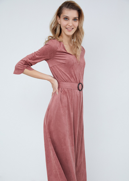 Замшевое платье-миди с поясом - фото 2