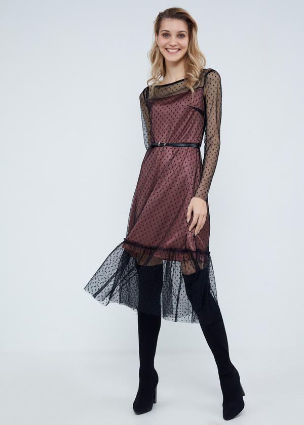 Многослойное платье-миди с ремешком - фото 1