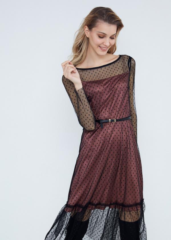 Многослойное платье-миди с ремешком - фото 2