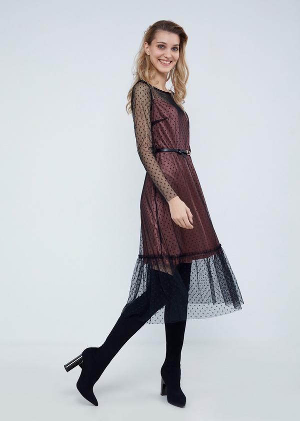 Многослойное платье-миди с ремешком - фото 3
