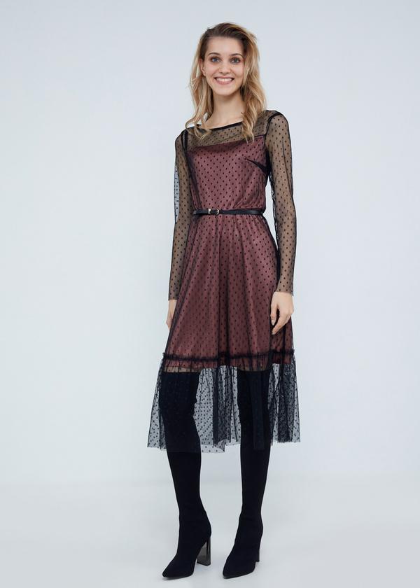 Многослойное платье-миди с ремешком - фото 4