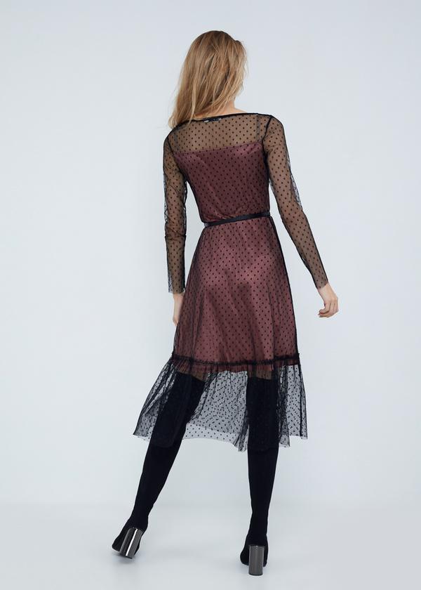 Многослойное платье-миди с ремешком - фото 5