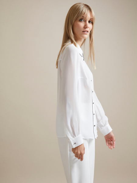 Полупрозрачная блузка с пуговицами - фото 2