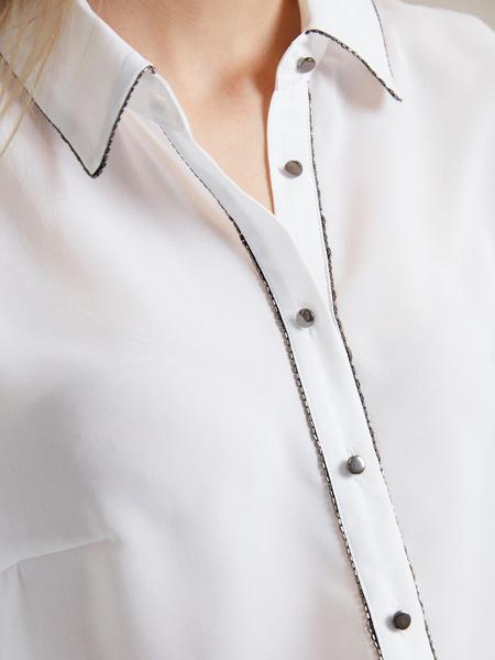 Полупрозрачная блузка с пуговицами - фото 3