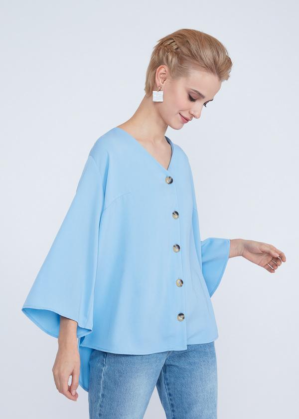 Блузка с расклешенными рукавами - фото 2