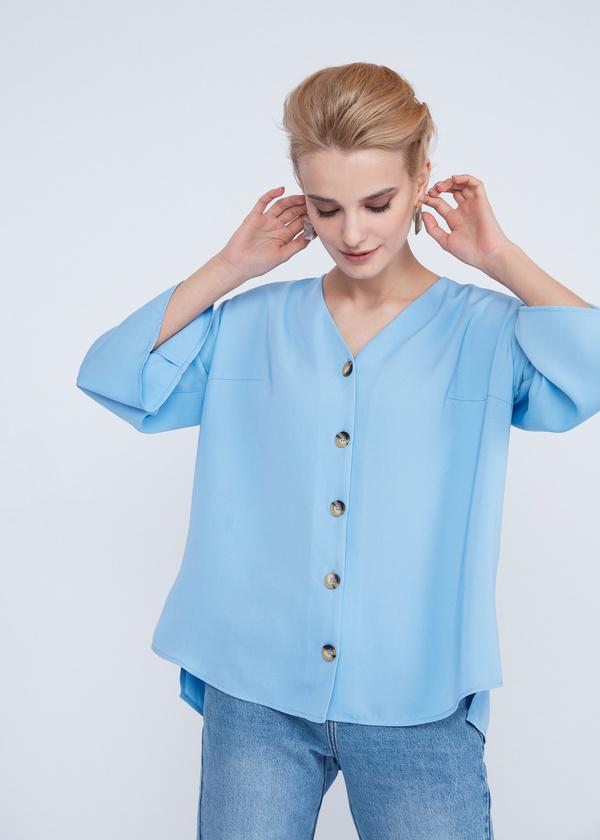 Блузка с расклешенными рукавами - фото 5