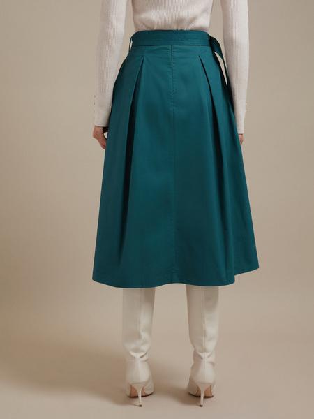 Хлопковая юбка-макси с поясом - фото 4