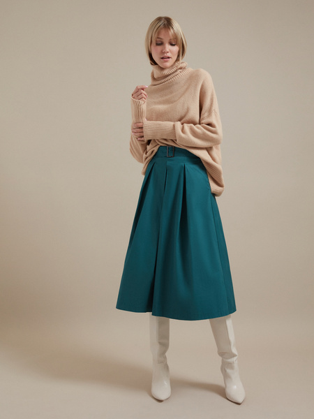 Хлопковая юбка-макси с поясом - фото 5