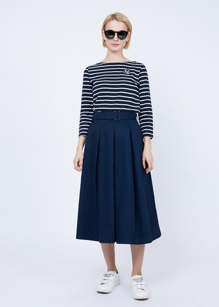 Хлопковая юбка-макси с поясом - фото 1