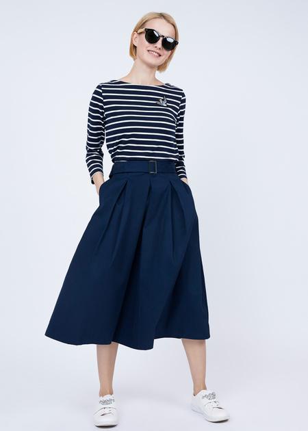 Хлопковая юбка-макси с поясом - фото 2