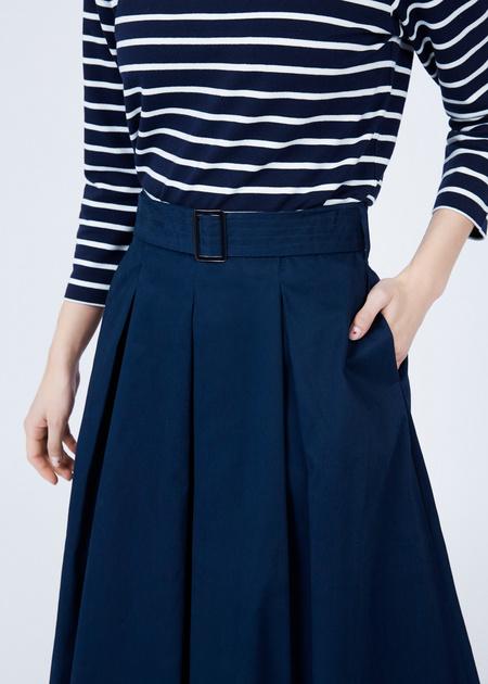 Хлопковая юбка-макси с поясом - фото 3