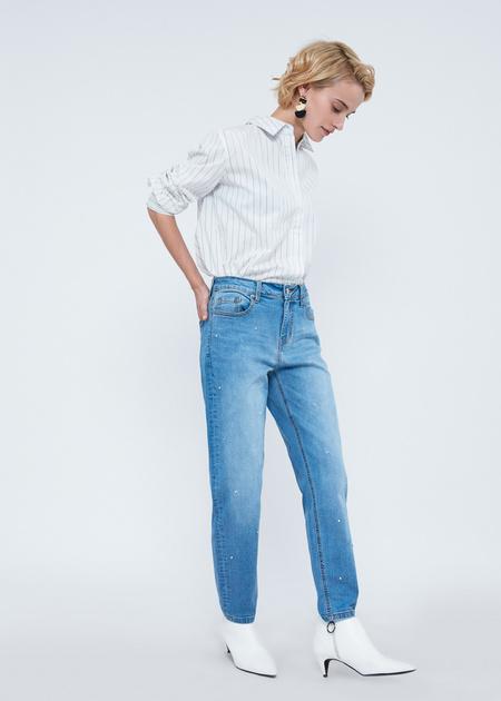 Прямые джинсы с бусинами - фото 2