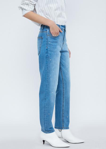 Прямые джинсы с бусинами - фото 4