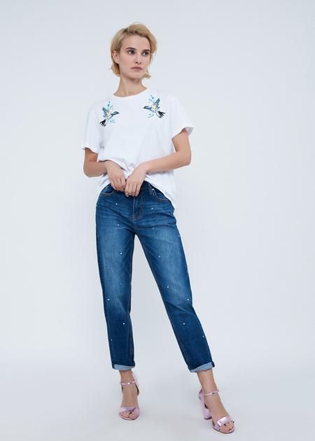 Прямые джинсы с бусинами - фото 1