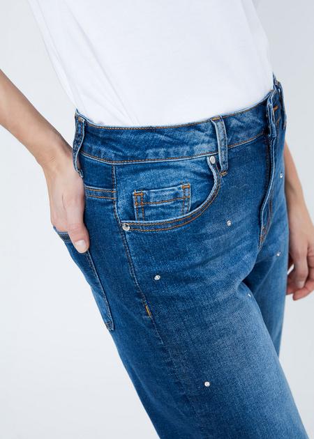 Прямые джинсы с бусинами - фото 3