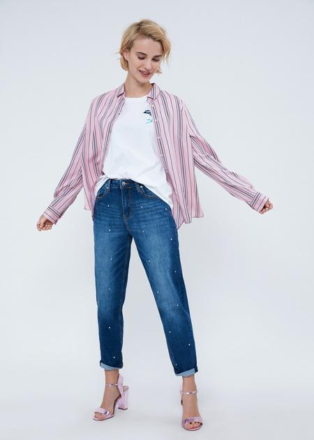 Прямые джинсы с бусинами - фото 6