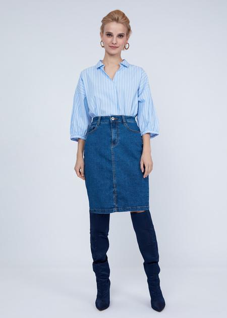 Облегающая юбка из денима - фото 1