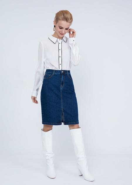 Облегающая юбка из денима - фото 2