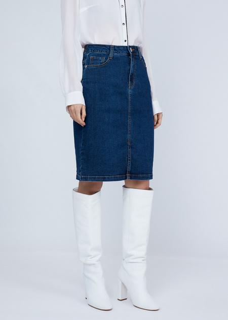 Облегающая юбка из денима - фото 4