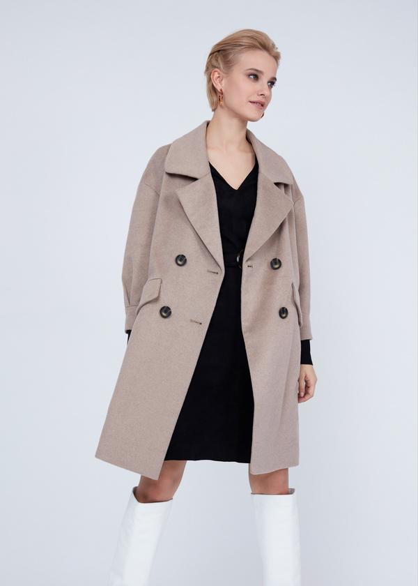 Двубортное пальто полушерсть - фото 3