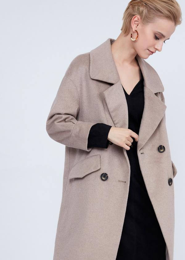 Двубортное пальто полушерсть - фото 4