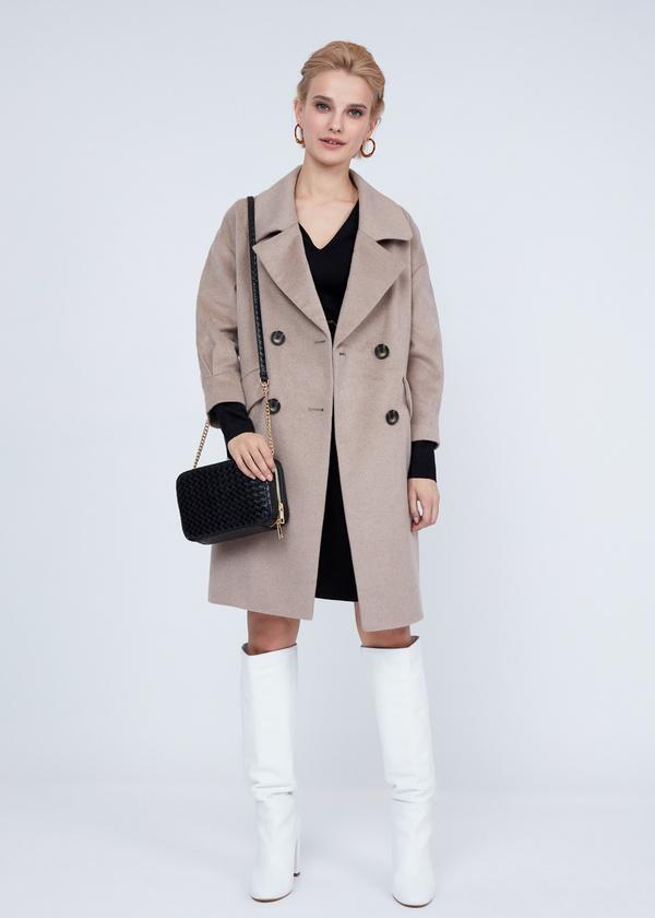 Двубортное пальто полушерсть - фото 5