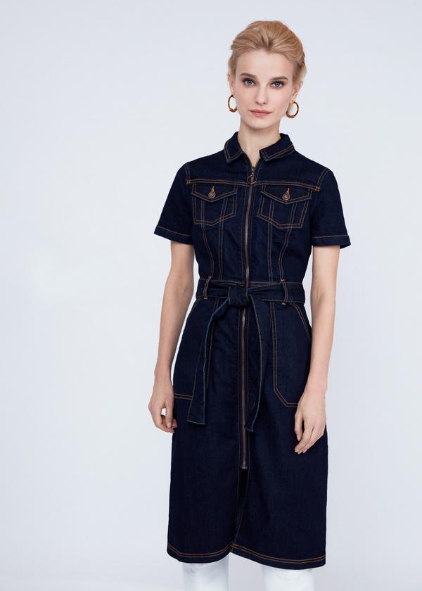 Джинсовое платье с молнией и поясом - фото 1
