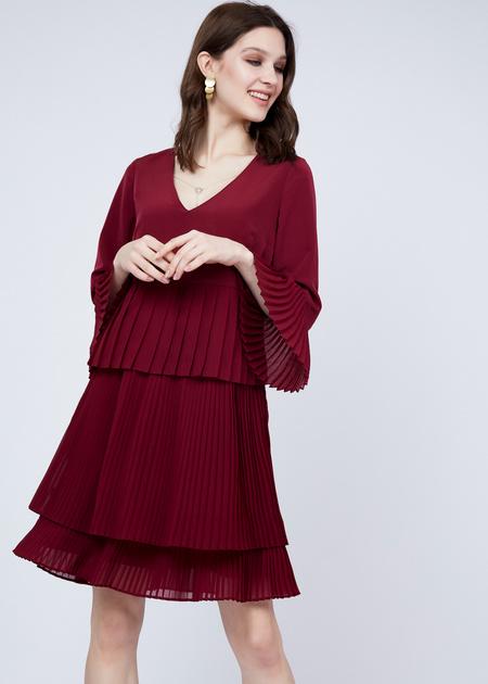 Многоярусное платье с плиссированной юбкой - фото 1