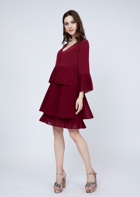 Многоярусное платье с плиссированной юбкой - фото 3