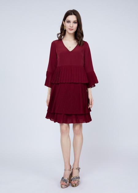Многоярусное платье с плиссированной юбкой - фото 4