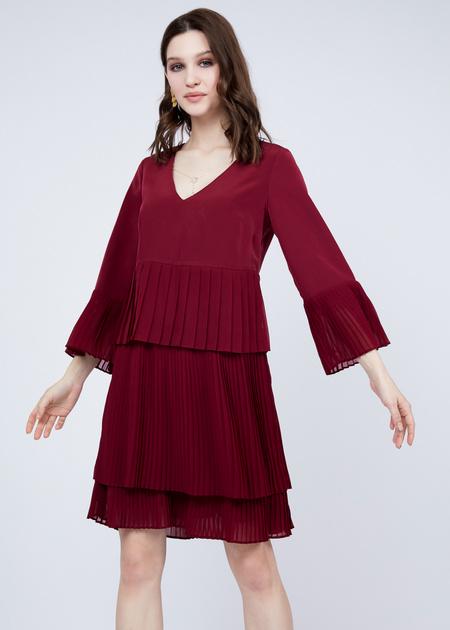 Многоярусное платье с плиссированной юбкой - фото 6
