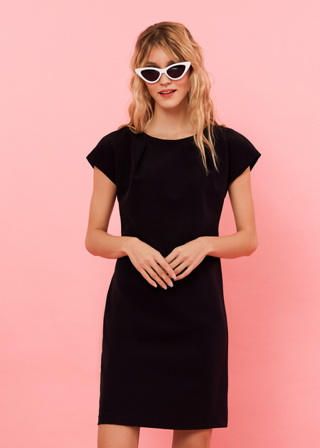Платье-мини с плечами-ракушками - фото 1
