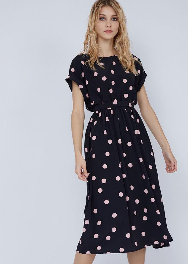 Платье-миди с поясом и пуговицами на спинке - фото 1