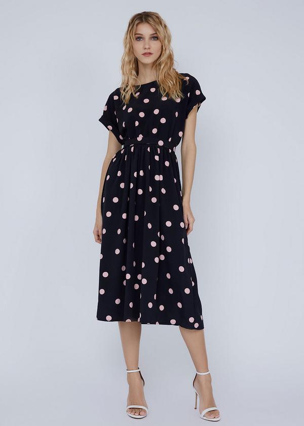 Платье-миди с поясом и пуговицами на спинке - фото 2