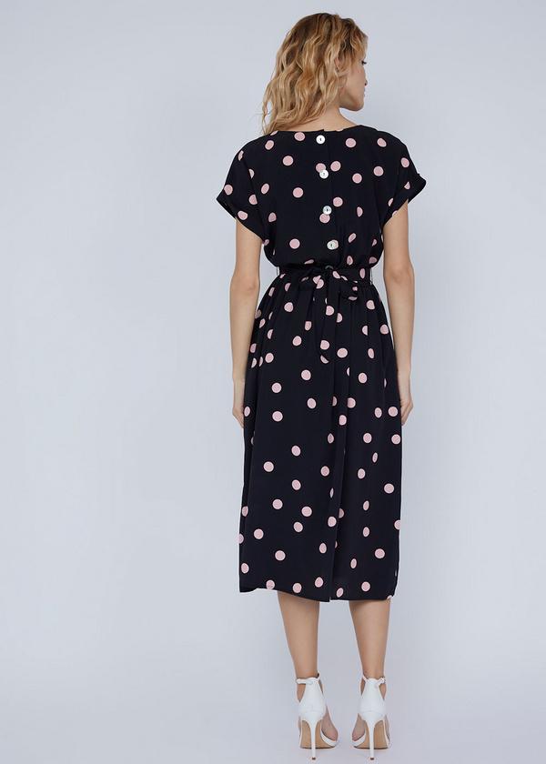 Платье-миди с поясом и пуговицами на спинке - фото 6