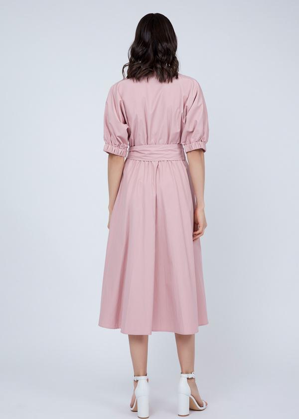 Платье-миди с поясом и пуговицами - фото 7