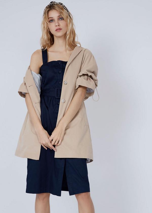 Хлопковое платье-сарафан с поясом - фото 3