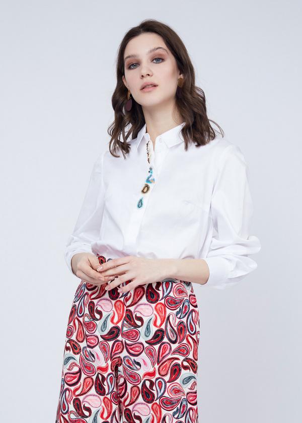 Хлопковая блузка с вышивкой - фото 2