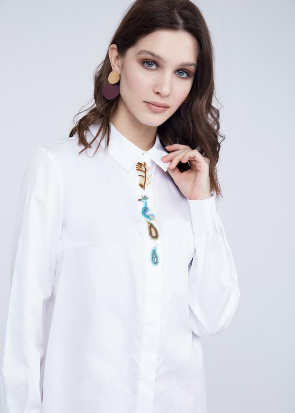 Хлопковая блузка с вышивкой - фото 3