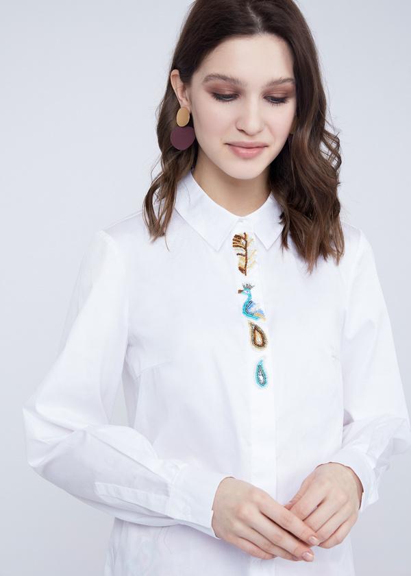 Хлопковая блузка с вышивкой - фото 4