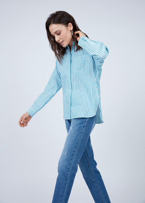 Хлопковая рубашка с завязками на спине - фото 3