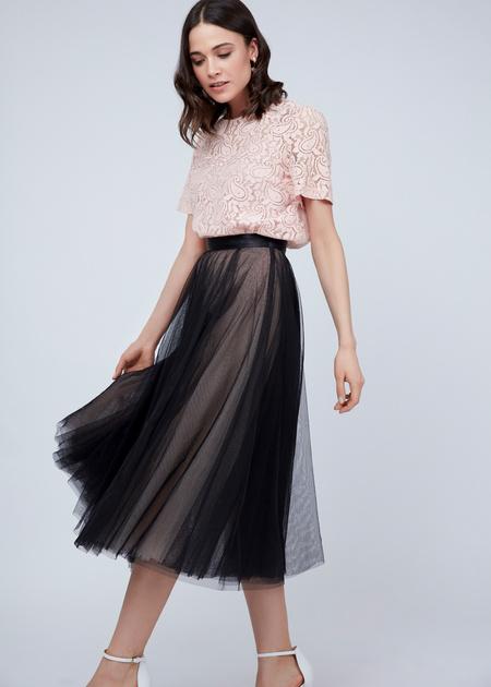Пышная юбка-миди с атласным поясом - фото 4