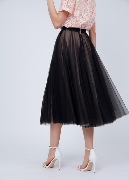 Пышная юбка-миди с атласным поясом - фото 5