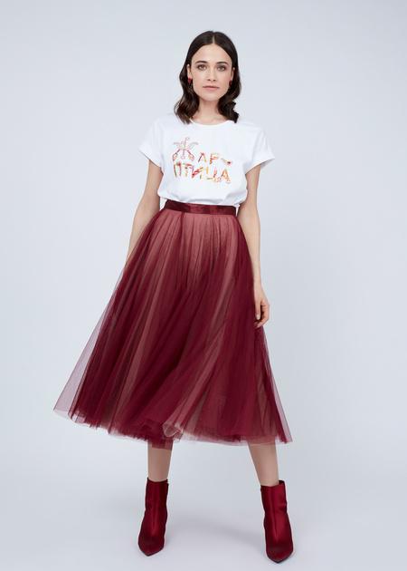 Пышная юбка-миди с атласным поясом - фото 1