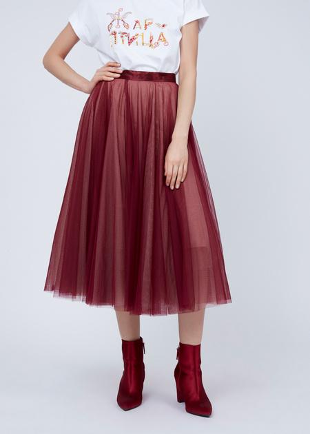 Пышная юбка-миди с атласным поясом - фото 2
