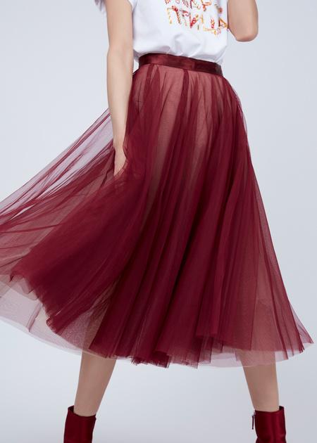 Пышная юбка-миди с атласным поясом - фото 3