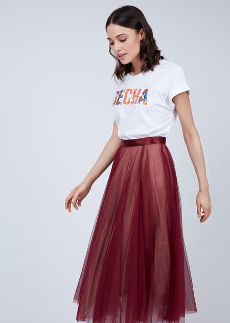 Пышная юбка-миди с атласным поясом - фото 6